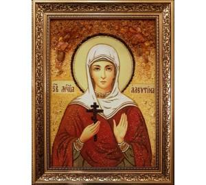 Ікона свята Алевтина Кесарийская - ікона з янтаря (ар-382)