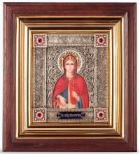Ікона Свята Катерина - іменна ікона з сріблом, в дубовому кіоті (юо-38)