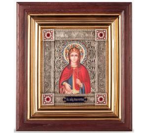 Икона Святая Екатерина - именная икона с серебром, в дубовом киоте (юл-38)