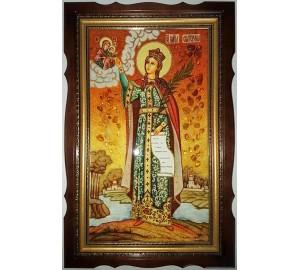 Икона Святая Екатерина - янтарная икона ручной работы, в киоте (ар-22/1)