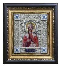 Икона Святая Ирина - именная икона с серебром (юл-36)