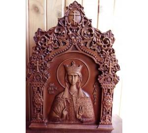 Икона Святая княгиня Людмила Чешская - резная икона, из дерева (Р-38)