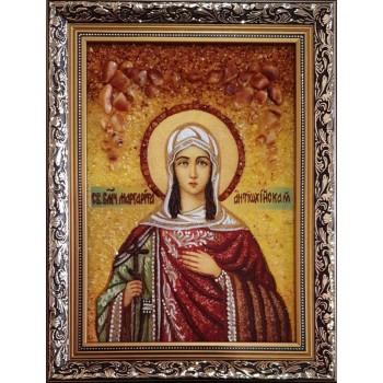 Икона святая Маргарита Антиохийская - икона из янтаря (ар-342)