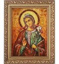 Икона Святая Мирослава Константинопольская - икона с янтарем (ар-301)