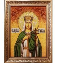 Икона святая мученица Алла Готфская - икона из янтаря (ар-381)