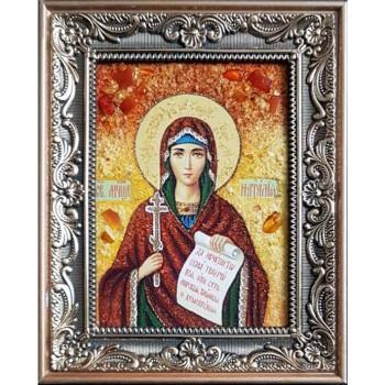 Икона святая мученица Наталия - икона из янтаря (ар-369)