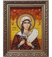 Ікона Свята мучениця Вікторія (Ніка) - янтарна ікона ручної роботи (ар-357)