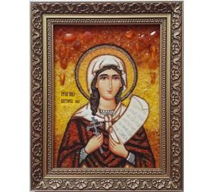 Икона Святая мученица Виктория (Ника) - янтарная икона ручной работы (ар-357)