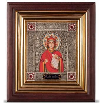 Икона Святая Наталия - именная икона с серебром, в дубовом киоте (юл-39)