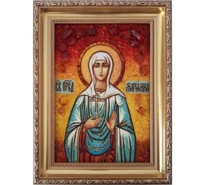 Икона Святая праведная Мариамна - янтарная икона ручной работы (ар-351)
