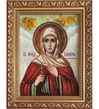 Икона святая Валерия Кесарийская - икона из янтаря (ар-347)