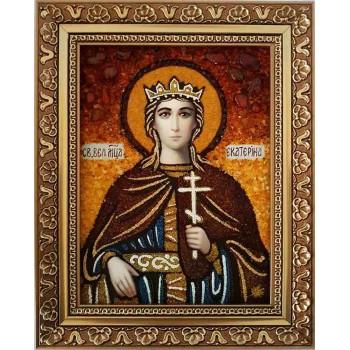Икона Святая великомученица Екатерина - янтарная икона (ар-159)