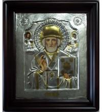 Икона Святитель Николай Чудотворец - писаная икона, с серебром (хм-75)