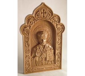 Икона Святитель Николай - резная икона из дерева (ДВ-20)
