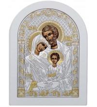 Икона Святое Семейство - греческая икона с серебром в красивой белой рамке (015-W)
