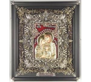 Икона Святое Семейство - икона на подарок, серебро, позолота (Ос-ССк13)