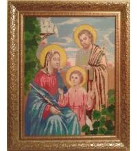 Икона Святое Семейство - Икона ручной работы из бисера (б-02)