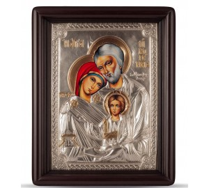 Икона Святое Семейство (Свята Родина) - писаная икона .с серебром (Хм-65)