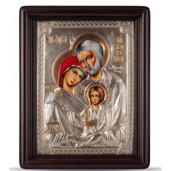 Икона Святое Семейство (Свята Родина) - писаная икона, с серебром (Хм-65)
