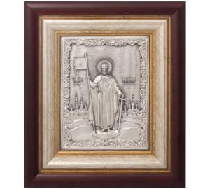 Икона святого Александра Невского - икона с серебром (k-04)