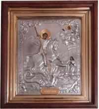Икона святого Георгия Победоносца - икона с серебром, в дубовом киоте (юл-19)