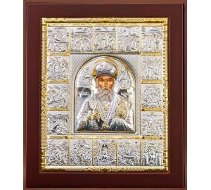 Ікона Святого Миколи Чудотворця з святами - ікона з сріблом (EKL12-009)