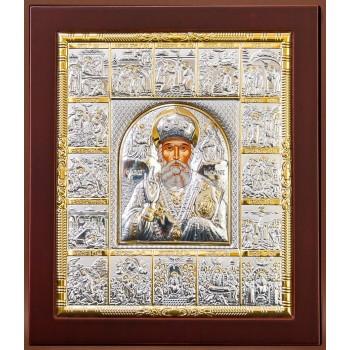 Икона Святого Николая Чудотворца с праздниками - икона с серебром (EKL12-009)