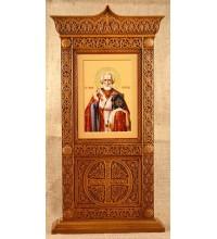Ікона Святого Миколая - ікона в красивому настільному різьбленому кіоті, з дерева (rev-102)
