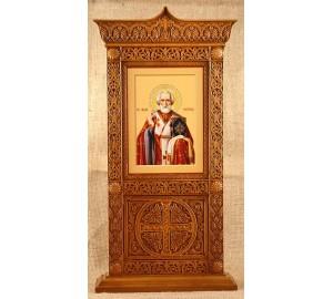 Икона Святого Николая - икона в красивом настольном резном киоте, из дерева (rev-102)