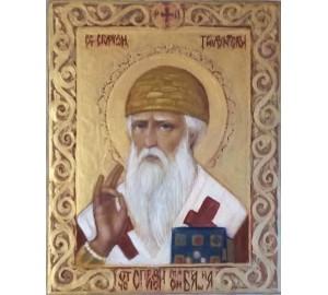 Икона Святого Спиридона Тримифунтского - писаная икона на липовой доске (ах-04)