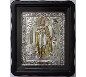 Икона святой Александр Невский - икона с серебром (хм-74)