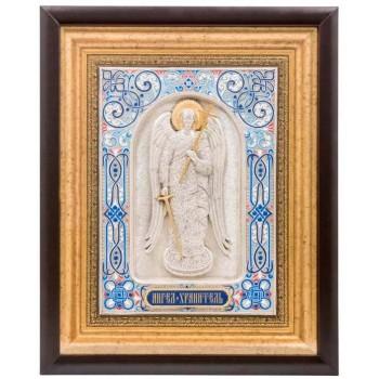 Икона святой Ангел-Хранитель - икона на подарок, с серебром (k-19)
