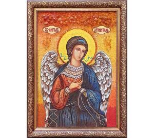 Икона Святой Ангел Хранитель - икона ручной работы, из янтаря (ар-343)