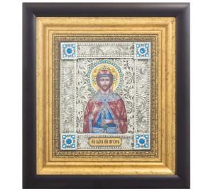 Икона Святой благоверный князь Игорь - именная икона, с серебром (k-17/1)