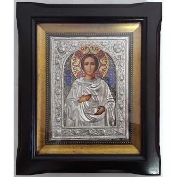 Икона Святой целитель Пантелеймон - икона с серебром, в дубовом киоте (Юл-22/1)