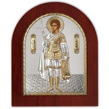 Икона Святой Фанурий - икона из Греции с серебром и позолотой (GOLD)