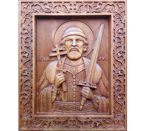 Икона Святой Игорь Черниговский - резная икона, из дерева (Р-39)