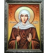 Икона Святой Ксении Петербургской - икона ручной работы, с янтарем (ар-281)