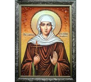 Ікона Святої Ксенії Петербурзької - ікона ручної роботи, з бурштином (ар-281)