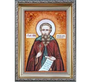 Ікона Святий Максим - Іменна ікона з янтарем, ручна робота (ар-19)