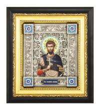 Икона Святой мученик Иоанн Воин - писаная икона, с серебром (юл-18)