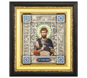 Ікона Святий мученик Іоанн Воїн - ікона писана, з сріблом (юо-18)