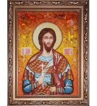 Икона Святой Никита Воин - именная икона из янтаря (ар-370)