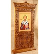 Икона Святой Николай Чудотворец - икона в настольном резном киоте из дерева (rev-103)