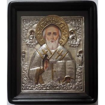 Икона Святой Николай Чудотворец - писаная икона, с серебром (хм-59)