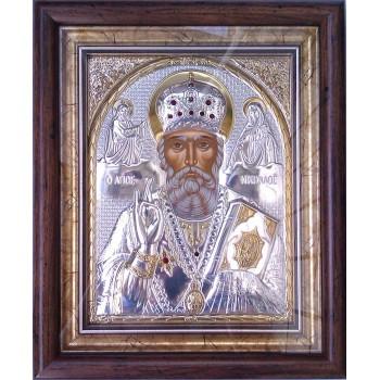 Икона Святой Николай - Греческая серебряная икона в рамке под стеклом с кристаллами Сваровски (SPECIAL STONE)