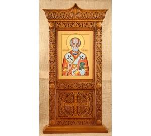 Икона Святой Николай - икона в настольном резном киоте из дерева (rev-101)