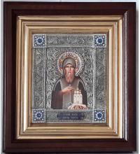 Икона Святой Олег Брянский - именная икона с серебром, в дубовом киоте (юл-37)