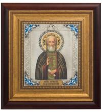 Икона Святой Преподобный Сергий Радонежский - икона с серебром (k-23)