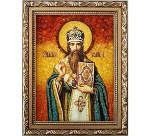 Икона Святой Василий Великий - янтарная икона (ар-331)